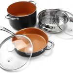 Michelangelo copper pots and pans set nonstick